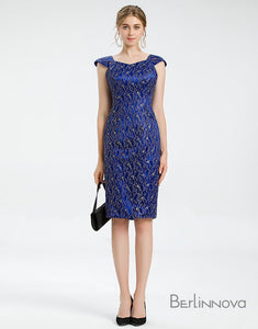 Sheath Round Neck Royal Blue Petite Mother of The Bride Dress