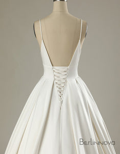 Simple Spaghetti Strap Backless Wedding Dress