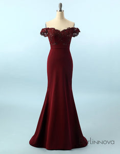 Stylish Burgundy Mermaid Prom Dress Off the Shoulder Evening Dress