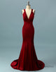 Sexy Mermaid Red Prom Dress V Neck Evening Dress