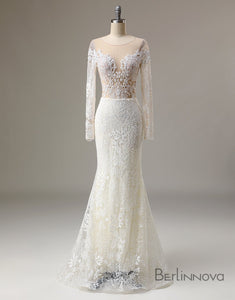 Long Sleeve Appliques Bridal Dress