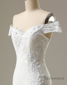 Off The Shoulder Illusion Lace Wedding Dress