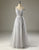 A-Line V-Neck Backless Light Grey Long Prom Dress with Appliques