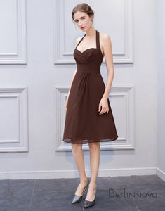 Simple Halter Knee Length Brown Bridesmaid Dress