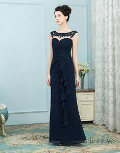A-Line Chiffon Long Mother of The Bride Dress