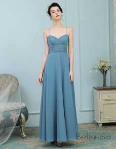 A-Line Spaghetti Straps Chiffon Dusty Blue Bridesmaid Dresses with Beading