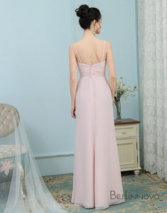 A-Line Straps Ruched Chiffon Appliques Light Pink Bridesmaid Dresses