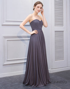 A-Line Halter Dark Grey Chiffon Wedding Party Dress