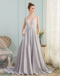 A-Line V-Neck Pleated Grey Satin Prom Dress with Appliques