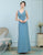 A-Line V-Neck Ruched Chiffon Dusty Blue Bridesmaid Dress