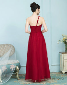 A-Line One Shoulder Floor Length Red Tulle Bridesmaid Dress