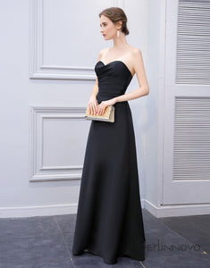 A-Line Sweetheart Black Satin Bridesmaid Dress