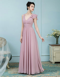 A-Line V-Neck Floor-Length Chiffon Blush Pink Bridesmaid Dresses