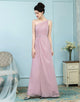 A-Line One Shoulder Chiffon Dusty Pink Bridesmaid Dresses with Sash