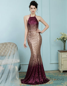Glitter Omber Gold Halter Long Sequines Pleats Prom Dress