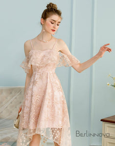 High Low A-Line Spaghetti Straps Ice Pink Lace Homecoming Dress