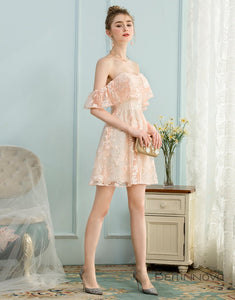 A-Line Off-the-Shoulder Short Ice Pink Lace Homecoming Dress with Ruffle
