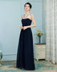 A-Line Cross V-Neck Chiffon Navy Blue Bridesmaid Dresses with Beading