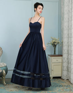Spaghetti Straps Long Navy Blue Bridesmaid Dresses