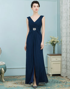 Sheath V-Neck Navy Blue Chiffon Mother of The Bride Dress with Beading Split