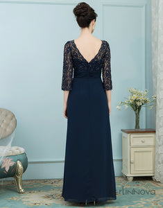 Long Sleeve Navy Blue Navy Mother of The Bride Dress