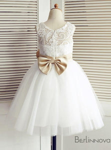 A-Line Jewel White Lace Flower Girl Dress with Bow
