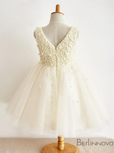 A-Line Ivory Flower Girl Dress with Tulle