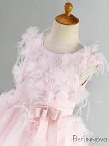 A-Line Feather Tulle Pink Flower Girl Dress with Sash