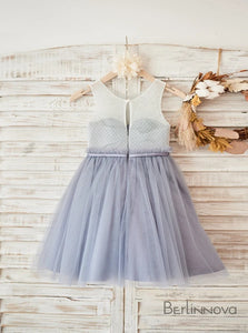 A-Line Knee-Length Grey Lace Flower Girl Dress with Sash