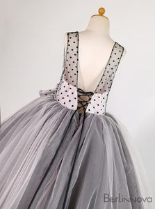 Ball Gown Dot Tulle Flower Girl Dress with Bow