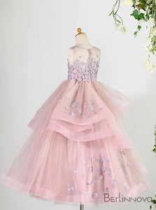 A-Line Organza Blush Flower Girl Dress with Ruffles