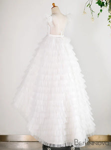 A-Line Tulle White Flower Girl Dress with Sash