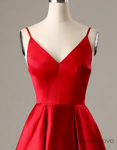 A-Line Spaghetti Straps Short Red Homecoming Dress with Pockets
