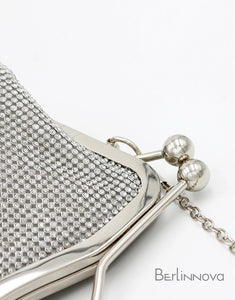Silver Beaded Envelop Clutch Bag