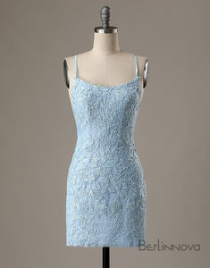 Hot Selling Sheath Blue Short Homecoming Dresses with Appliques