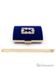 Royal Blue Velvet Box Clutch Bag