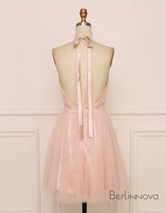 Pink Backless Halter Homecoming Cocktail Dresses with Pleats
