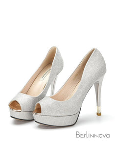 High Heel 9cm Heel Peep Toe Bridal Shoes
