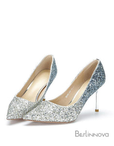 Ombre Sparkling Pointy Toe Stiletto Pumps Heels