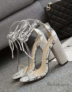 Snake Pattern Ankle Strap Chunky Sandals