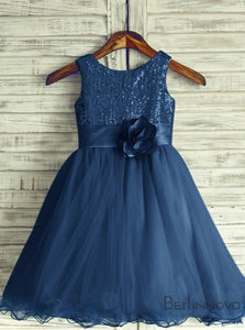A-Line Navy Blue Tulle Flower Girl Dress For Weddings