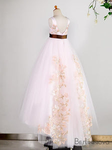 A-Line Tulle Pink Flower Girl Dress with Embroidery