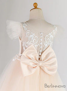 Ball Gown Sleeveless Tulle Flower Girl Dress with Bow