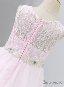 A-Line Sleeveless Pink Lace Flower Girl Dress with Sash