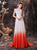 A-Line Long Sleeveless Lace Ombre Red Wedding Dress