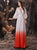 A-Line Deep Round Neck Ombre Red Satin Wedding Dress with Sleeves