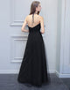Open Back Black Halter Bridesmaid Dress