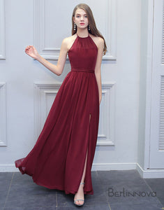 Simple Halter Bridesmaid Dress Side Split Burgundy Long Wedding Party Dress