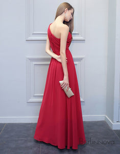 Simple One-Shoulder Bridesmaid Dress Cherry Chiffon Long Wedding Party Dress