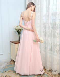 Simple Doubles Straps Baby Pink Bridesmaid Dresses